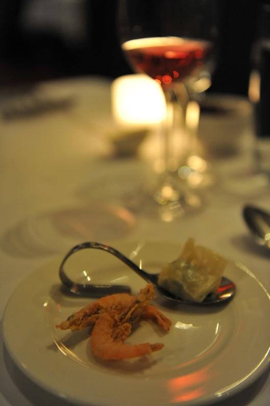 Lamont Bishops House (8) Amuse bouche prawn dumpling and crisp fried river prawns