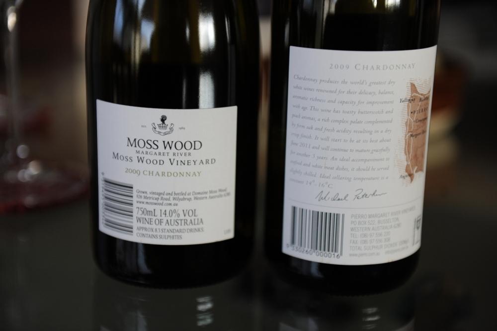 Moss Wood vs Pierro Chardonnay 2009 Margaret River Wine Labels Back